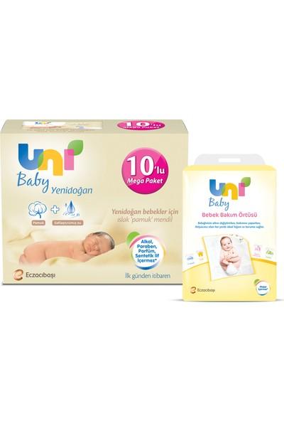 Uni Baby Yenidoğan 10'lu 400 Yaprak + Bebek Bakım Örtüsü 10'lu