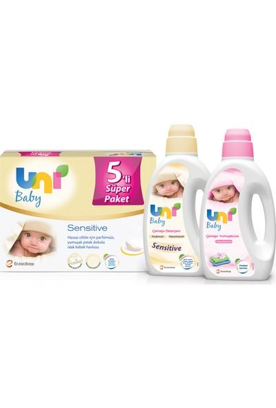 Uni Baby Sensitive Islak Havlu 5'li + Deterjan ve Yumuşatıcı 1500 ml Set