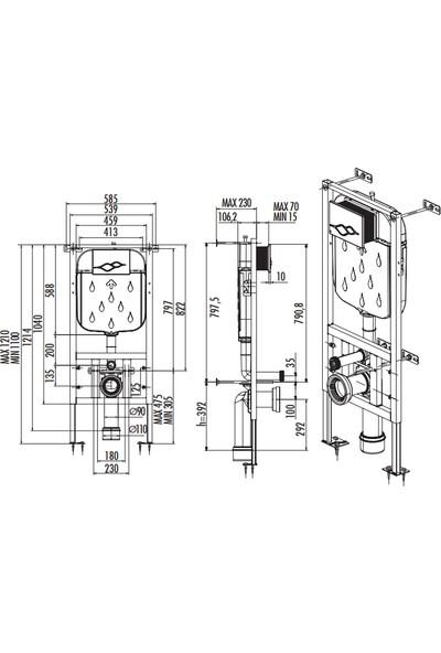 Creavit GR5005 Alçıpan Duvar İçi Sırt Sırta Uygulamalı Gömme Rezervuar Hızlı Montaj 3-6 LT