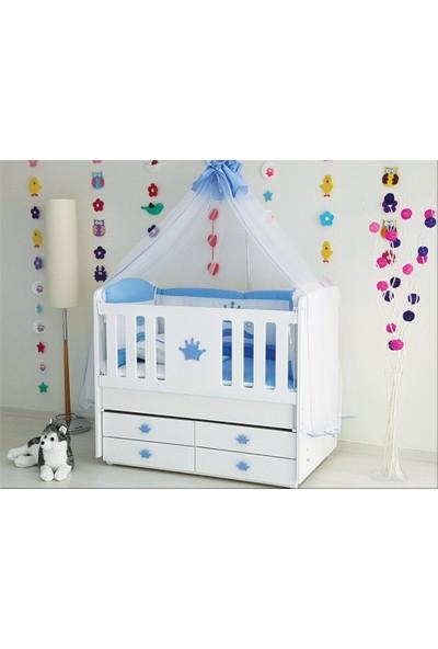 Efendi Bebe Taçlı 4 Çekmeceli Beşik Mavi