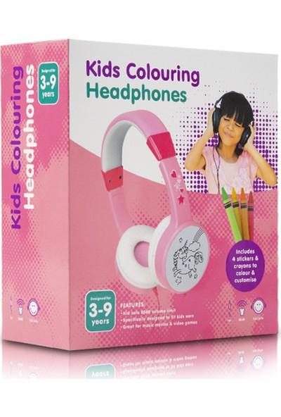 Kids Colouring H-31116 3.5mm AUX Pembe Kulaküstü Çocuk Kulaklığı