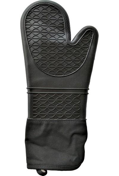 Penguen Karamela Büyük Boy Silikon Fırın Eldiveni 40 cm Siyah