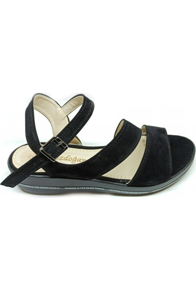 Bozdoğan 589 Günlük Siyah-Süet Kadın Sandalet