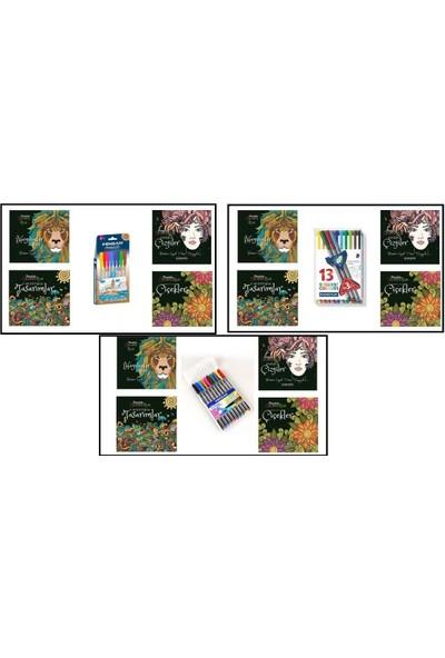 Karatay 4'lü Coloring Relax Lüks Mandala Seti (Pensan Triball 3D 8 Renk)
