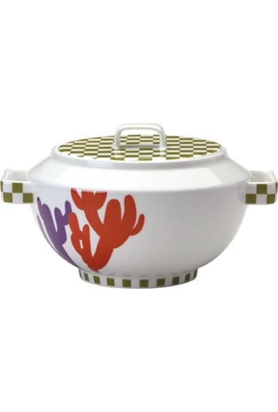 Richard Ginori Cactus Kapaklı Porselen Çorba Kabı 3,5 lt