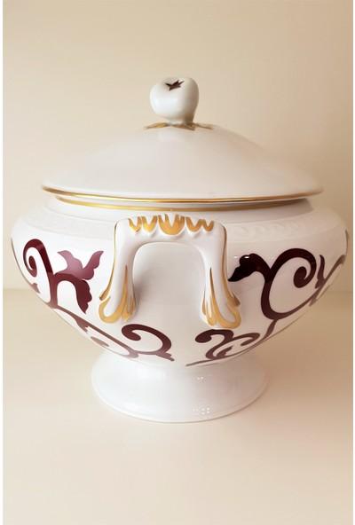 Richard Ginori Museo Marquse - Kapaklı Porselen Çorba Kabı 5,25 lt