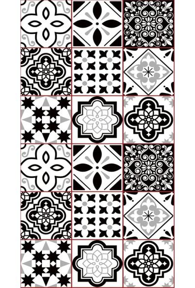 MissiaHome Karo Bordo Çizgili Siyah Beyaz Desen Yolluk