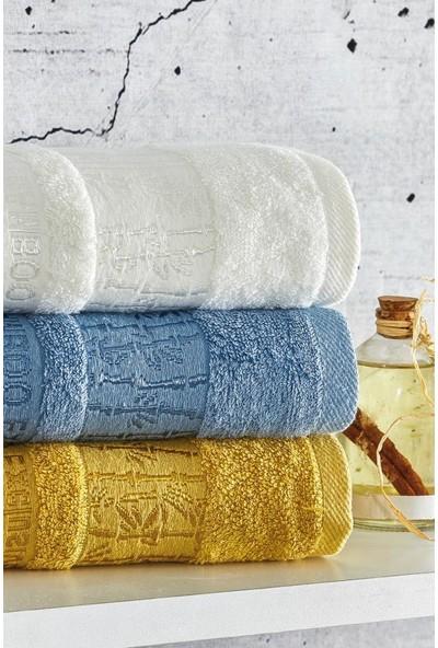 Laura Bella Exclusive 3'lü Bambu Havlu Seti 50X90 Beyaz-Mavi-Sarı
