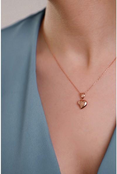 Mithra Jewelry Üç Boyutlu Kalp Model Papatya Figürlü Gümüş Kolye 925 Ayar