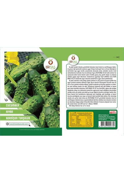 Birtaş Kornişon Turşuluk Salatalık Tohumu Paket