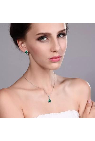 Damla Model Zümrüt Yeşili Zirkon Taşlı Gümüş Bayan Kolye Küpe Seti