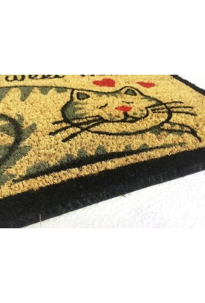 Giz Home Koko Kapı Paspası 33X60 Cm Krem Kalpli Kedi