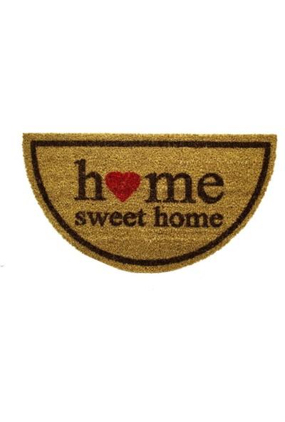 Giz Home Koko Kapı Paspası 33X60 Yarımay Bej Home Sweet Home