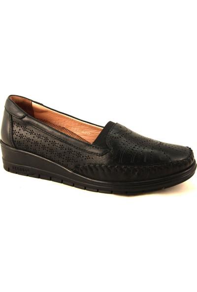 Forelli 25102 Kadın Siyah Günlük Deri Ayakkabı