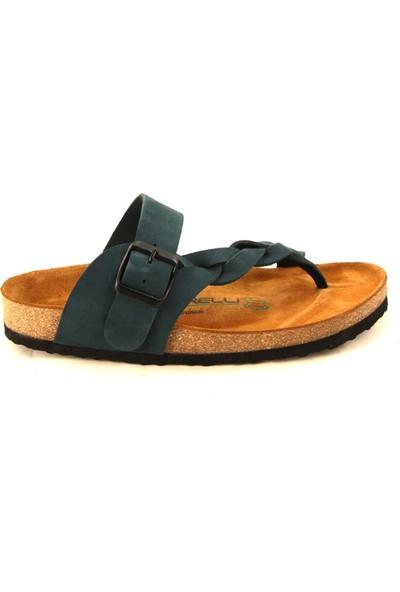 Forelli 23206 Kadın Lacivert Nubuk Mantar Taban Sandalet