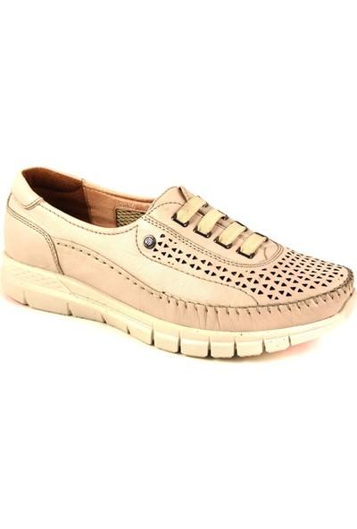 Forelli 29536 Kadın Bej Deri Comfort Ayakkabı