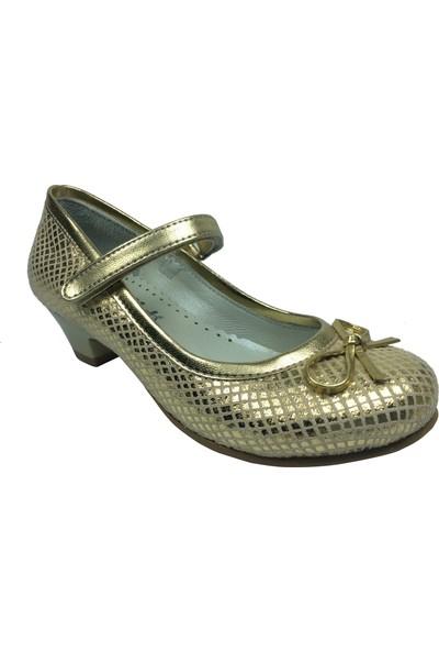 Cici Bebe Filet Dore Crocodil Parlak Topuklu Kız Çocuk Ayakkabı Cırtlı İçi Deri