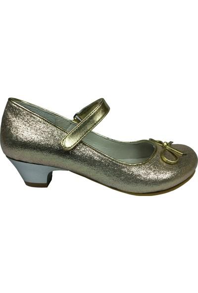 Cici Bebe Filet Dore Parlak Topuklu Kız Çocuk Ayakkabı Cırtlı İçi Deri