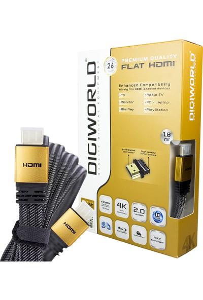 Digiworld 4K HDMI Flat Kablo 26 Awg 2.0 Versiyon - 1.8m