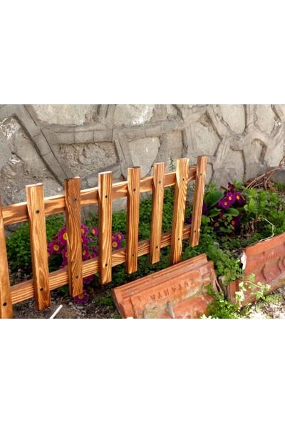 Wooden+ City Doğal Ham Ahşap Dekoratif Bahçe Çiti 120 x 30 cm