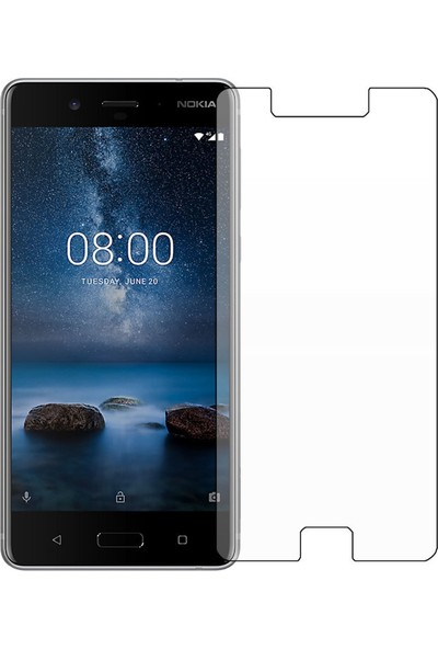 HerBütçeye Maxi Nokia 8 Şeffaf Temperli Cam
