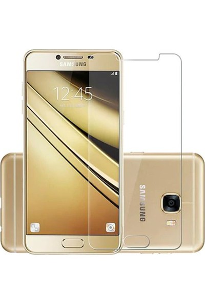 HerBütçeye Maxi Samsung Galaxy C7 Şeffaf Temperli Cam