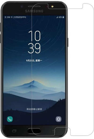 HerBütçeye Maxi Samsung Galaxy C8 Şeffaf Temperli Cam