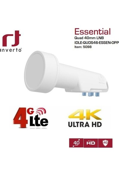 Inverto Essential Quad Lnb 0,3db Full Hd 4K Uyumlu
