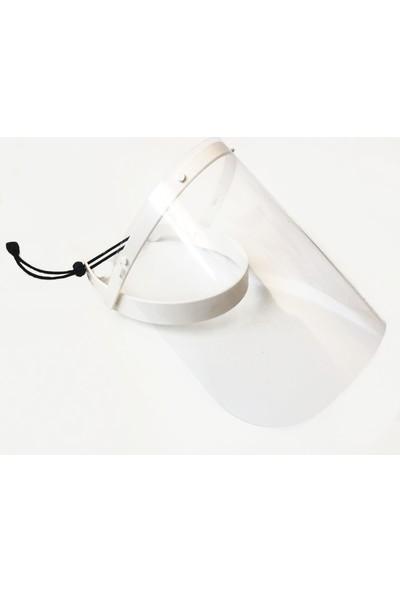 Doruk Yüz Koruyucu Siperlik Şeffaf Oynar Başlıklı Lastikli Beyaz