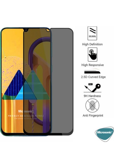 Microsonic Samsung Galaxy M30S Privacy 5d Gizlilik Filtreli Cam Ekran Koruyucu Siyah