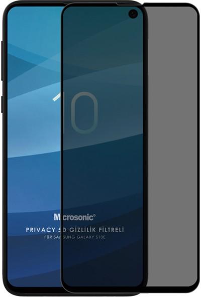Microsonic Samsung Galaxy S10E Privacy 5d Gizlilik Filtreli Cam Ekran Koruyucu Siyah