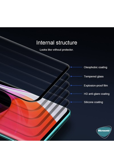 Microsonic Xiaomi Mi 10 Tam Kaplayan Temperli Cam Ekran Koruyucu Siyah