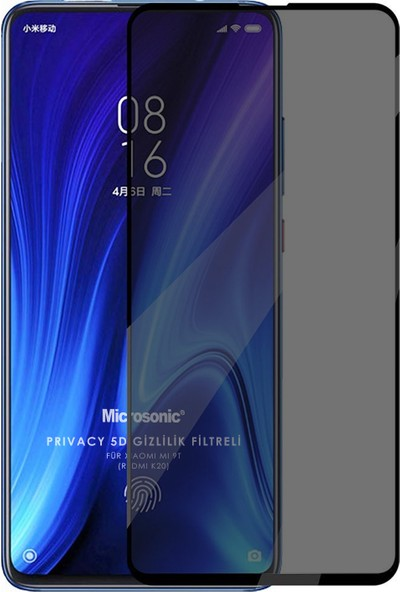 Microsonic Xiaomi Mi 9t Privacy 5d Gizlilik Filtreli Cam Ekran Koruyucu Siyah