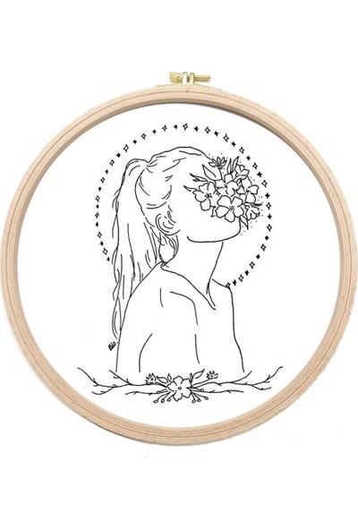 Turuncubirkafa Embroidery Yüzü Çiçekli Kız 2 Nakış Kiti Seti