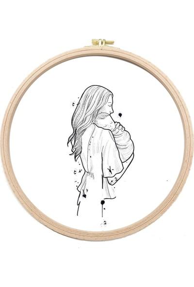 Turuncubirkafa Embroidery Kundakta Bebek Anne Nakış Kiti Seti