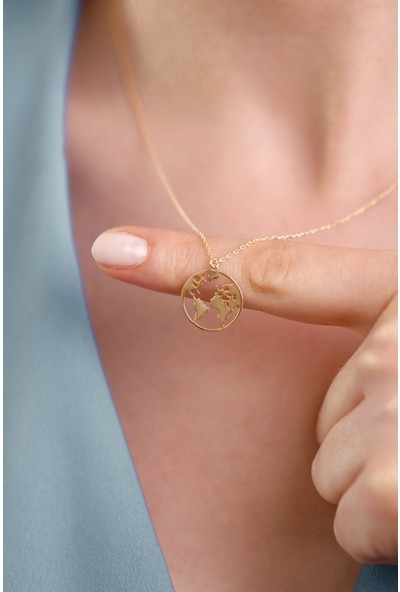 Mithra Jewelry Dünya Figürlü Gümüş Kolye 925 Ayar