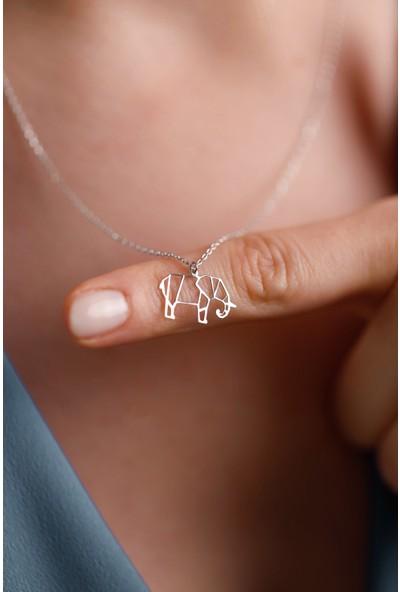 Mithra Jewelry Minimal Fil Gümüş Kolye 925 Ayar