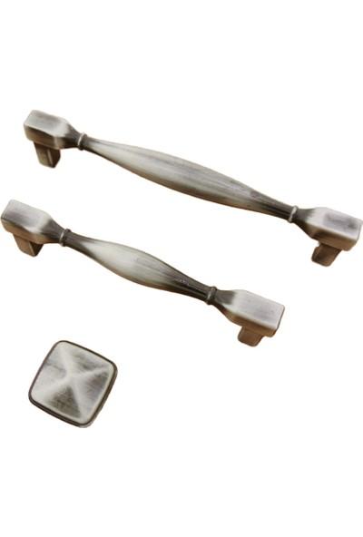 Azm Kare Satine Dolap Mobilya Mutfak Kulp Antik Gümüş 96 mm