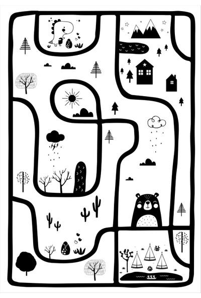 Yoyko İskandinav Ayıcık ve Yol Çocuk Odası Oyun Halısı