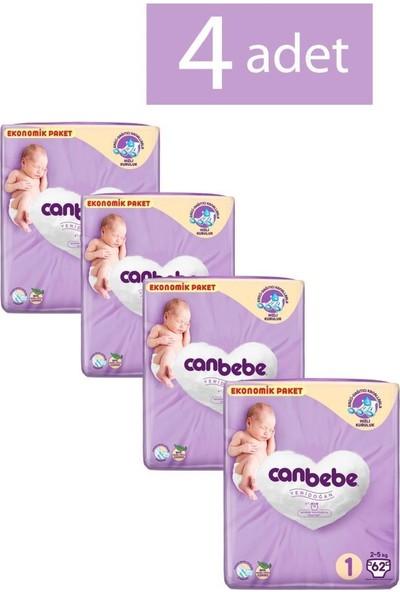 Canbebe Bebek Bezi 1 Mini Beden 62'li 4 Paket
