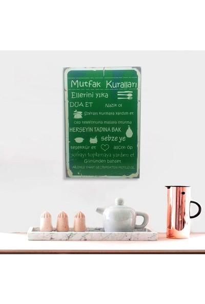 Ferman Hediyelik Mutfak Kuralları Ahşap Retro Poster 17,5 x 27,5 cm