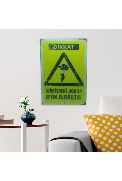 Ferman Hediyelik Içimizdeki Çocuk Temalı Ahşap Retro Poster 17,5 x 27,5 cm