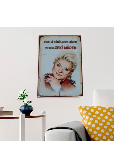 Ferman Hediyelik Zeki Müren Ahşap Retro Poster 17,5 x 27,5 cm