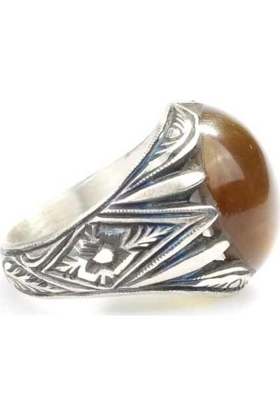 Nusret Takı 925 Ayar Gümüş Yuvarlak Yeşil Renk Sıkma Kehribar Taşlı Erkek Yüzüğü
