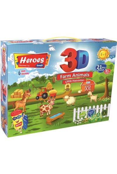 Heroes 3D Çiftlik Hayvanları 6 Renkli Oyun Hamuru ERN-570