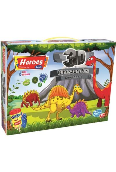 Heroes 3D Dinazor Set 6 Renkli Oyun Hamuru ERN-568