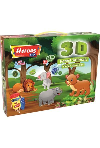Heroes 3D Orman Hayvanları 6 Renkli Oyun Hamuru ERN-571