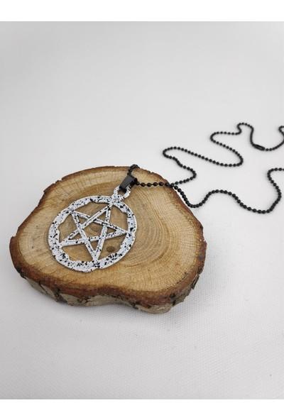 Markamindirim Pentagram Siyah Beyaz Top Zincirli Erkek Kolye