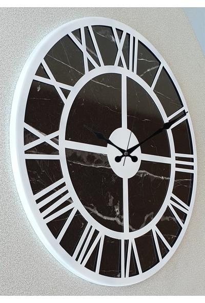 Markakanvas Mermer Desenli Metal Duvar Saati