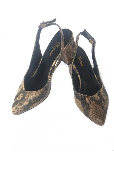 Taymir Yılan Desenli Kahverengi Topuklu Ayakkabı